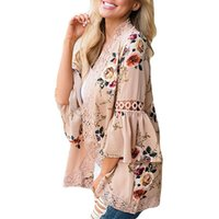 69d6bd1a0aa3 Women Floral Print Autumn Kimono Cardigans Long Sleeve Loose Lace Plus Size  2XL Casual Female Sweater Coverup Tops ld744