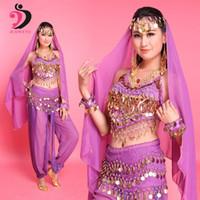 femmes indiennes dansant les vêtements achat en gros de-6 couleurs Costume de danse du ventre Oriental Belly Dancing Vêtements Bellydance Pratice Vêtements Indien Ensemble Femmes Performance Porter Gypsy
