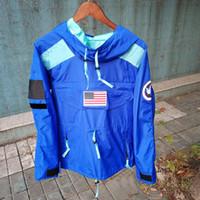 xxl hoodie da marinha venda por atacado-Moda Hoodie 17ss Gore-Tex Pullover Moletom Com Capuz Hip Hop EUA Bandeira Jaqueta Azul Preto Marinho Vermelho 4 Cores S-XXL