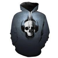 crâne casque achat en gros de-ConMotion Casual Gris Hoodie Music Headphone Crâne Imprimer Men 's Hooded Pull KU2026