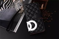 Wholesale Lanyard Plastic Case - For iPhone X Luxury Fashion CC PU Leather Wallet Flip Case For iPhone8 8plus 7 7plus Lanyard Card Holder Flip Covers for iPhone6 6s Plus