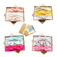 Wholesale hair bow boxes for sale - Group buy Kids Headbands Knot Bunny ears band Birthday gift Mermaid Arrow Geometric Print hair accessories with box Bow elastic Boutique