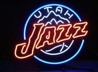 ingrosso segno luci al neon di baseball-Affari Personalizzato NEON SEGNO board Per Baseball Utah Jazz VERO VETRO Tube BEER BAR PUB Club Negozio Light Signs 15 * 15