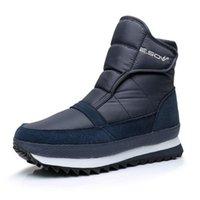 botas de tornozelo preta à prova d'água quente venda por atacado-Mulheres ankle boots 2018 moda hookloop quente inverno sapatos de pelúcia botas de neve à prova d 'água anti-slip mulheres botas preto