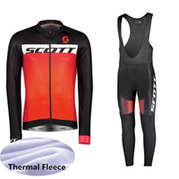 baberos de jersey de invierno al por mayor-2019 SCOTT Winter Thermal Fleece Ciclismo manga larga Jersey Ciclismo Racing MTB Maillot Bike Bib pantalones largos Conjunto Ropa Ciclismo K111233