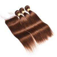 cyssic k toptan satış-Ön Renkli 4 Çikolata Koyu Kahverengi Düz Saç Dantel Kapatma Ile 3 Demetleri Ham Bakire Hint Remy İnsan Saç uzantıları