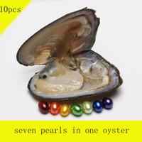 ingrosso regali arcobaleno per i bambini-Nuova combinazione di colori arcobaleno 10PCS con sette grani di riso perle d'acqua dolce in un'ostrica per i regali dei bambini