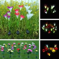 ingrosso fiori di giardino solare potenza-4 teste di energia solare fiore giglio LED luce solare lampada prato lampada 3 colori illuminazione esterna luci decorazioni da giardino 30 pz / lotto T2I383