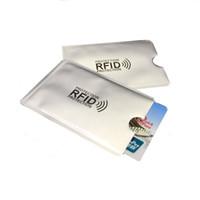 Wholesale reader id card - 2000pcs Anti Rfid Blocking Reader Lock Bank Card Holder ID Bank Card Case Rfid Protection Metal Credit Card Holder Aluminium