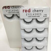 pacote vermelho conduzido venda por atacado-New Hot Cereja Vermelho cílios Postiços 5 pares / pacote 8 Estilos Natural Longo profissional de maquiagem olhos Grandes melhor qualidade