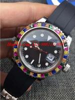 pulseiras de borracha diamantes venda por atacado-Relógios de luxo RAINBOW Diamante 116695SATS NEW Black Dial Pulseira De Borracha Automática Marca de Moda Mens Watch Relógio De Pulso