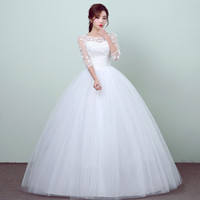 Wholesale korean style wedding gowns - New Style Lace 3 Quarter Wedding Dress Korean Style Simple Chinese Sweet Wedding Gown Princess Bridal Dress Vestidos De Novia