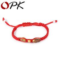 fisch rote seil armband großhandel-Großhandels-OPK Chinese Red Rope Charm Bracelets Lässige Handgefertigte Holz Fisch Design Einstellbare Frauen Männer Schmuck Für Unisex Günstigen Preis