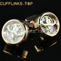 botones steampunk al por mayor-Reloj Movimiento Gemelos Inamovible Steampunk Gear Mecanismo de reloj Gemelos Cuff Buttons Accesorio de joyería de moda para hombres