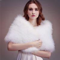 Wholesale red shrug jacket for sale - Group buy Ostrich Feather Bridal Shawl Fur Wraps Marriage Shrug Coat Bride Winter Wedding Party Boleros Jacket Cloak Red White Khaki cm