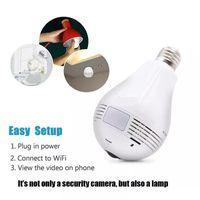 ingrosso lampada di fotocamera hd-WIFI P2P Lampada Bulb DVR telecamera IP HD 960P 360 gradi GLobe Panorama Cam Motion Detection LED Light Camera wireless sorveglianza sicurezza domestica