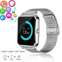 téléphone appareil photo bluetooth achat en gros de-Z60 Bluetooth Montre Intelligente Téléphone En Acier Inoxydable Support SIM Carte TF Caméra Fitness Tracker GT09 Smartwatch pour IOS Android