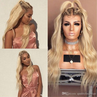 Wholesale roots lace front wig - 150% Density Ombre Blonde Lace Front Wig Loose Body Wave Glueless Lace Front Human Hair Lace Wigs Pre Plucked For Women Dark Root