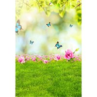 mavi çiçekli ağaç toptan satış-Mavi Kelebekler Ağacı Yapraklar Studio için Bokeh Arkaplan Yenidoğan Bebek Sahne Pembe Çiçekler Bahar Paskalya Fotoğrafçılığı Zemin Çim Kat