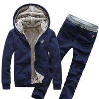 Wholesale mens warm cardigan for sale - Group buy Mens Casual Autumn Winter Thicken Warm Tracksuits Hooded Sweatshirt Jacket Coat Wide waisted Long Pants Sweatpants Suits Print Cardigan