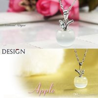 Wholesale Green Batch - Apple quality opal necklace rhodium Fashion Jewelry silver Moonstone pendant mixed batch