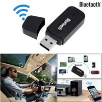 bluetooth mini jak toptan satış-3.5mm Bluetooth AUX Mini Ses Alıcısı Bluetooth Verici Jack Handsfree Oto Araç Kiti Müzik Adaptörü AUX C811050