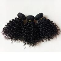 remy europäisches menschliches haar weben großhandel-Mongolisches brasilianisches reines Menschenhaareinschlagfaden kurze Bob Art große Qualität 8-12inch verworrenes lockiges Haar spinnt Nerz europäisches indisches remy Haar