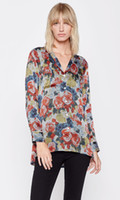 Wholesale equipment blouses - EQ 100% silk flower rose print long sleeve women blouse equipment ladies loose shirt autumn spring