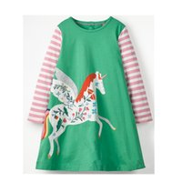 Wholesale american girl houses - Baby Girls Unicorn Dresses Striped 100% Cotton Applique Long Sleeves House Embroidery Winter Kids Clothes Princess Dresses Party Clothing