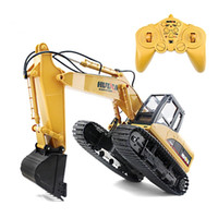 Wholesale Excavator 12 - Huina 1550 Rc Crawler 15ch 2 .4g 1 :14 Metal Excavator Charging 1 :12 Rc Car With Battery Rc Alloy Excavator Rtr For Kids