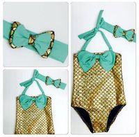 ingrosso costume di hairband-Ragazze sirena coda Swimwear Hairband 2pcs vestito DHL Sirena Costume da bagno Costume ragazze Mermaid Costume da bagno Costume da bagno costumi da bagno Bowknot Bikini Suit BY00