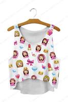 Wholesale loose crop tank top wholesale - Sweety KAWAII Emoji Emotion Crop Tank Top Skinny Sleeveless Women Running Vests Loose Vest Sexy Cut Out Singlet Pink Peach