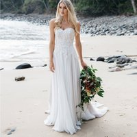 Wholesale strapless fitted backless wedding dresses online - Strapless Fitted Waist Wedding Gown With Soft Flowing Chiffon Skirt With Train Delicate Lace And Pearl Detailing Beach Bridal Dress