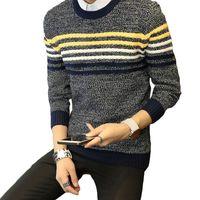 6ea6d87124 2017 new autumn winter men s sweater fashion shirt collar striped slim  men s bottoming sweater pullover ZL848