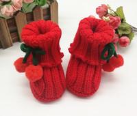 mädchen strickte wollstiefel großhandel-Neugeborene Baby Socken Erste Wanderer Baby Hausschuhe Boot Infant Häkelarbeitknit Elastische Mädchen Schuhe Reine Hand Woven Wolle Weiche Schuhe