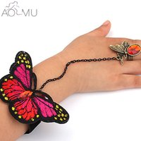 Wholesale Slave Girl - whole saleAOMU 1 Pc Butterfly Slave Link Chain Rings Crystal Wrist Hand Harness Bracelet Bangle for Children Girl Women Party Jewelry