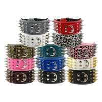 Wholesale 3 quot Wide Sharp Spiked Studded Leather Dog Collars For Medium Large Big Dogs Pitbull Mastiff German Shepherd Colors