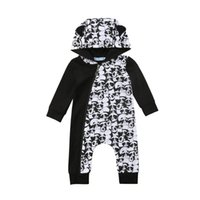 детская одежда оптовых-Newborn Baby Boy Girl Romper Autumn Long Sleeve Panda Hooded Zipper Rompers Jumpsuit Outfits Clothes Boys Girls Clothing 0-18M
