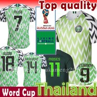 Wholesale Man Uniforms - Nigeria Soccer Jersey Thailand Mens 2018 World Cup Home 10 12 13 OBI SHEHU NDIDI Football uniform MUSA MOSES STARBOY IHEANACHO IWOBI Shirts