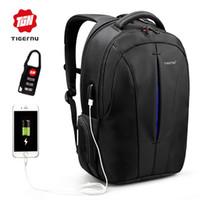 mochila para laptop tigernu venda por atacado-Tigernu Mochila de Nylon mochila dos homens de 15.6 Polegada USB chargin BackpacMale Escolar À Prova D 'Água