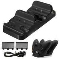 xbox bir şarj edilebilir toptan satış-Siyah Oyun Kontrolörleri Çift USB Şarj Dock İstasyonu Şarj + 2 Xbox One Kablosuz Denetleyici Aksesuarları için Şarj Edilebilir Pil Şarj