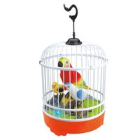 Wholesale drop ship plastic models - EFHH Sound Control Induction Cage Electric Toy Animal Model Include Three Birds Educational Toys Drop Shipping 5161005