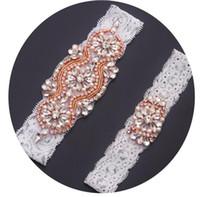 ingrosso merletti nuziali cristalli merletti-MissRDress giarrettiera da sposa in pizzo fatti a mano accessori abito da sposa in pizzo oro rosa strass di cristallo giarrettiera per le donne da sposa YS842886