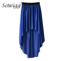 Wholesale Black Asymmetric Skirt - SETWIGG Summer Bohemian Style Dip Hem Long Chiffon Skirts Elastic Waist High Low Long Pleated Asymmetric Chiffon Skirts 15 Color
