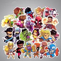 araba dekoratif çıkartmalar toptan satış-50 Adet / grup Marvel Anime Klasik Çıkartmalar Oyuncak Dizüstü Kaykay Bagaj Çıkartması Dekor Için Komik Demir Adam Spiderman Çıkartmalar Çocuklar Araba sticker