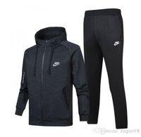85ef35721f8a4 Nike 2018 dos homens zip completo treino homens terno terno branco homens  baratos moletom e calça terno com capuz e calça conjunto homens agasalho  370-283