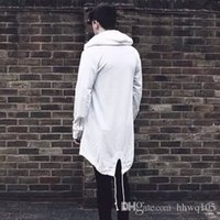 trincheira com capuz branco venda por atacado-Afligido Longos dos homens Hoodies Branco Preto Zip Manga Comprida Com Capuz Solto Casual Casaco Hip Hop Outwear Street Outwear Hi-Lo Jacket YYG1009