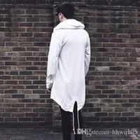 tranchée à capuchon blanc achat en gros de-Manteaux décontractés décontractés décontractés pour hommes Hip Hop Street - Noir et blanc à manches longues et à capuchon - Noir