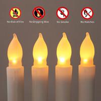 batterie beleuchtete weihnachtsbeleuchtung großhandel-12 Teile / satz 2,1 * 16,5 cm Batteriebetriebene Flammenlose LED Kegel Kerzen Lichter für Hochzeit Geburtstag Kirchen Weihnachtsfeier Dekorationen