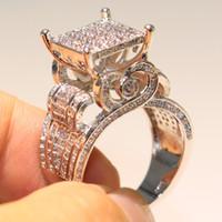 qualität weiße eule großhandel-Funkelnde Luxus Schmuck hohe Qualität 925 Sterling Silber füllen pflastern weißen Saphir cz Diamant Eule Ring Party Frauen Hochzeit Band Ringe Geschenk